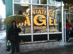 In front of the world's best bagel shop on St. Viateur - you don't know bagels until you've tried these!