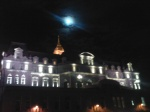 The moon atop Chateau Frontenac